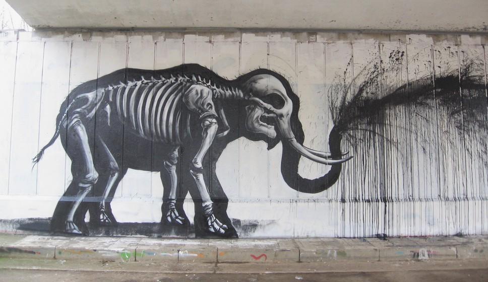 Roa, Elephant noir, Street Artistes