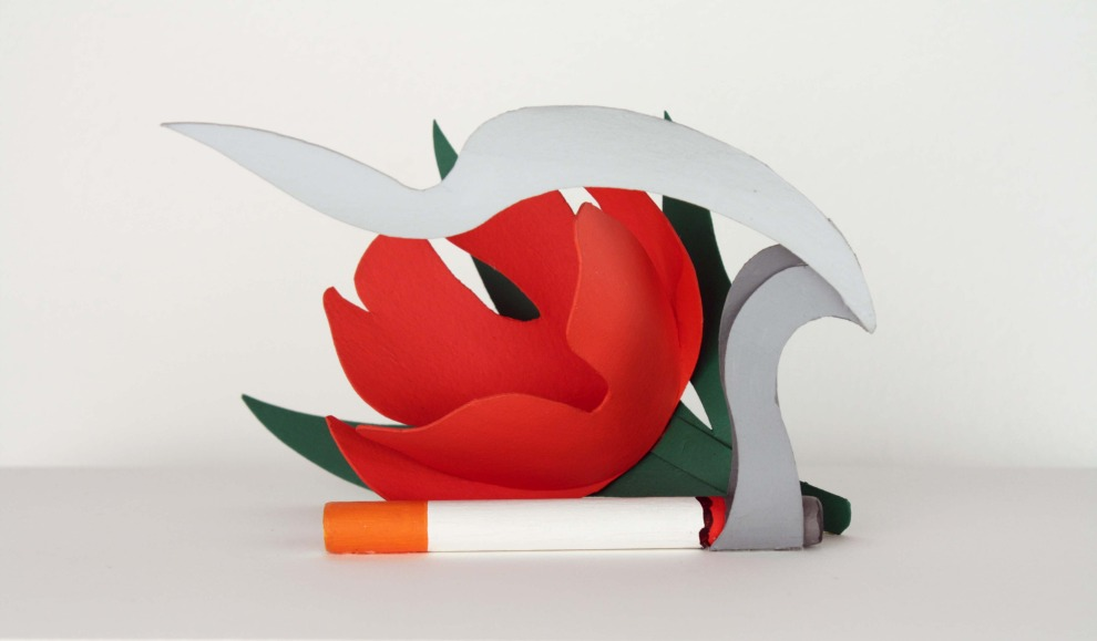 Maquette for tulip and smoking cigarette
