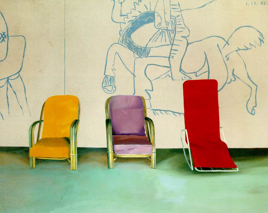 Three Chairs with a Section of a Picasso Mural