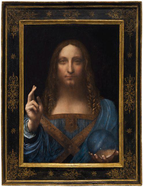 Salvator Mundi, Leonardo da Vinci, c.1500, adjugée 381.8 millions d'euros à New York en 2015