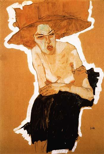 Egon-Schiele-The-scornful-Woman-_Gertrude-Schiele_-1910-large-1140557415