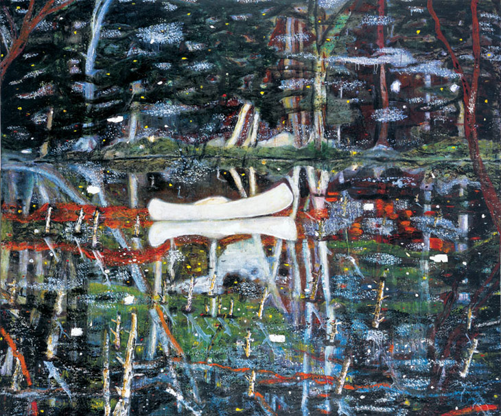 Peter Doig, White Canoe,oil on canvas, 1990-1991