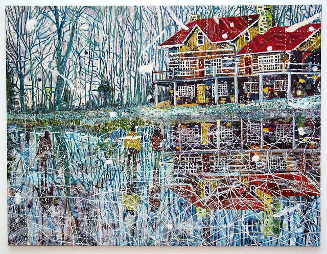 Peter Doig, Pond Life, oil on canvas
