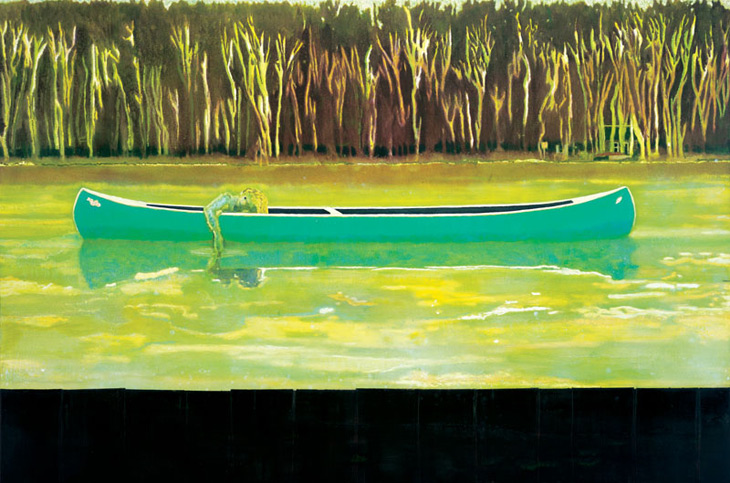 Peter Doig, Canoe Lake, oil on canvas 1997