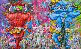 Red Demon and Blue Demon with 48 Arhats, Takashi Murakami, 2013 - copie