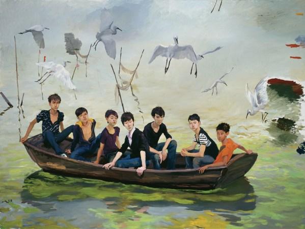 Liu Xiadong-Into Taihu, 2010-huile sur toile