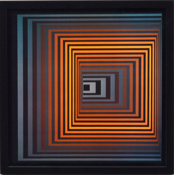 VICTOR VASARELY - Vonal-Fegn, 1973 (colored etching)