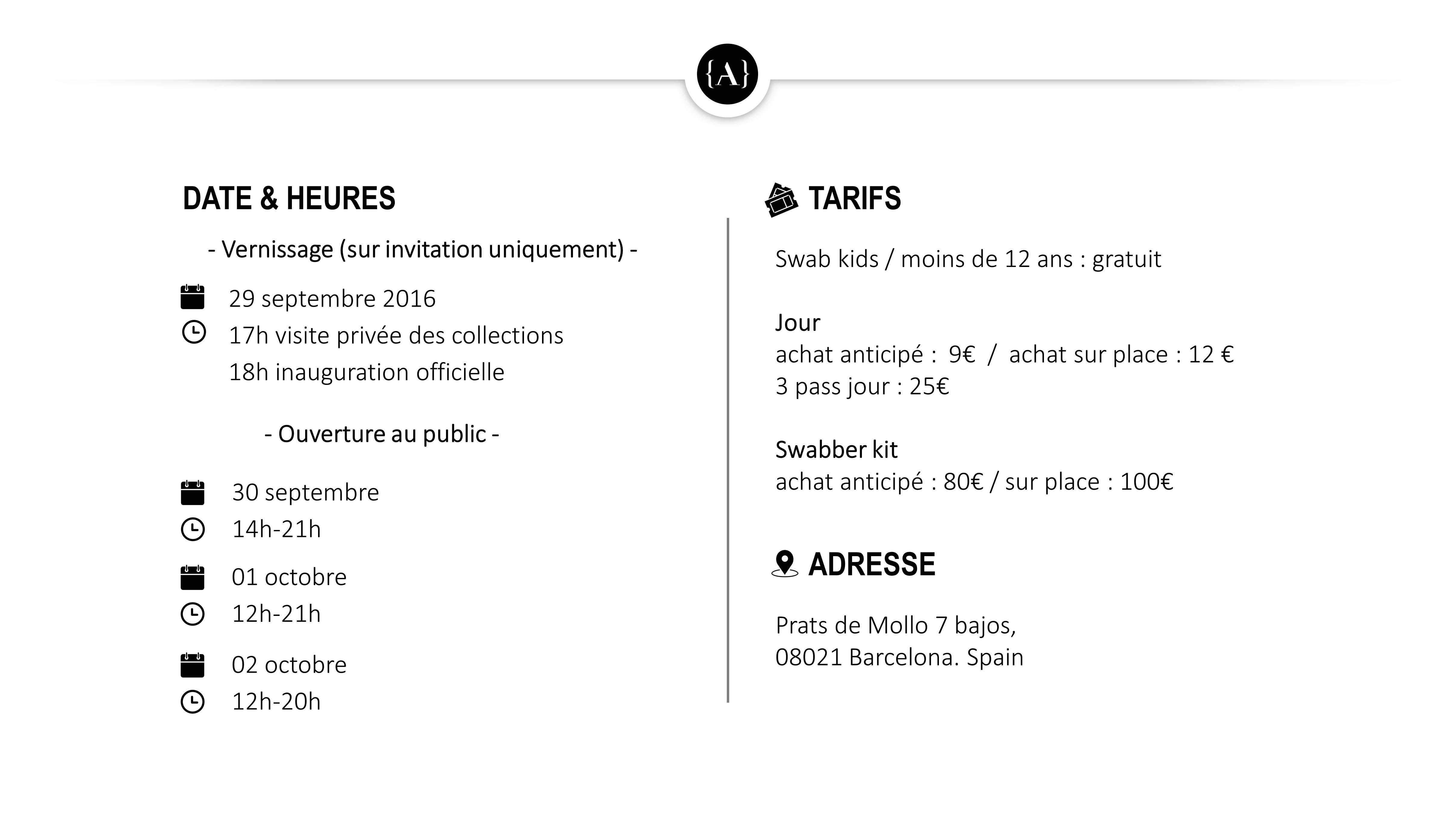 Infos Pratiques SWAB Barcelona FR