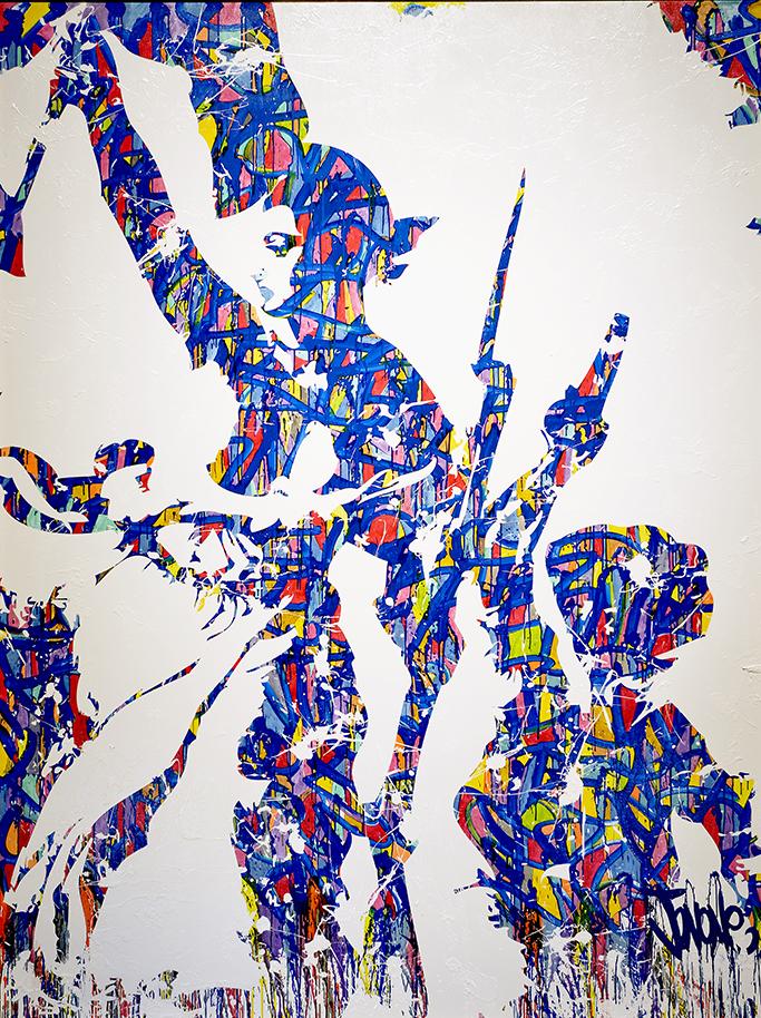 """19 janvier 2015 : Palais Bourbon, salon des Mariannes - tableau """"Liberté, Egalité, Fraternité"""" réalisé par JonOne"""