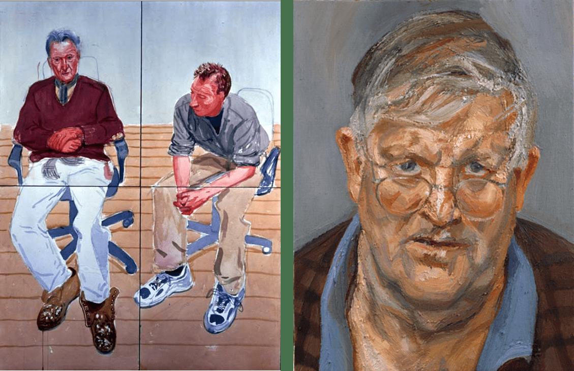 Deux portraits de Lucian Freud et David Hocney par l'un et l'autre.