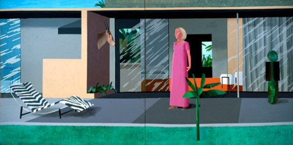 "DAVID HOCKNEY ""BEVERLY HILLS HOUSEWIFE"" ACRYLIC ON 2 CANVASS 72 X144"""