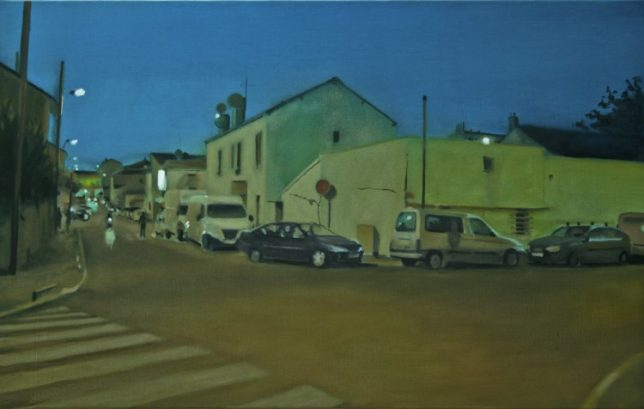 Philippe Bluzot, Banlieue (6), Huile sur toile 81x50cm, 2011