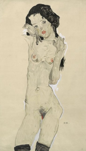 Egon Schiele Girl with black hair, 1910