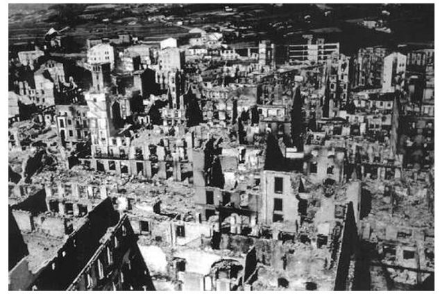 Ariel View of Guernica after the Bombings (1937)