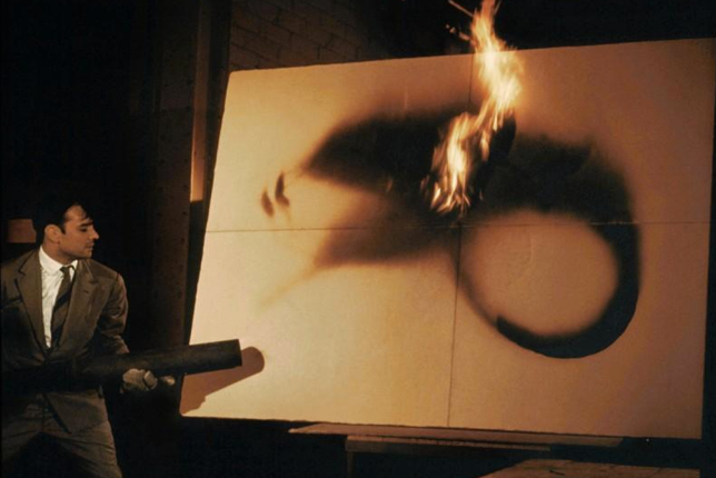 Yves Klein creating Fire Painting (F 25) (1961)