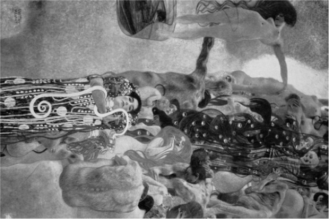 The only complete photograph of Klimt's renowned piece Medicine, which was destroyed by the Nazis during WWII. His other works in this series, Philosophy and Jurisprudence, were also destroyed.