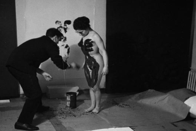 Yves Klein and one of his models during the creation of his Anthropometry works (1960)
