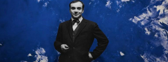 "Yves Klein in front of his work ""Grande Anthropophagie bleue - Homage to Tennessee Williams"" (ANT 76)"