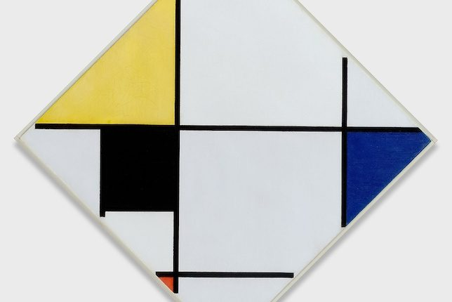 Piet Mondrian, Lozenge Composition with Yellow, Black, Blue, Red, and Gray, 1921