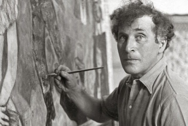 Marc Chagall painting in his atelier