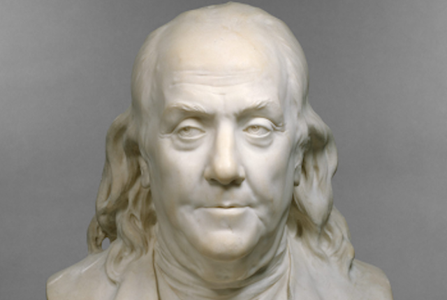 Houdon's marble bust of Benjamin Franklin