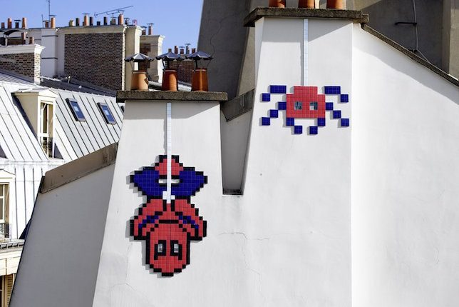 Invader Spiderman Mural in Paris