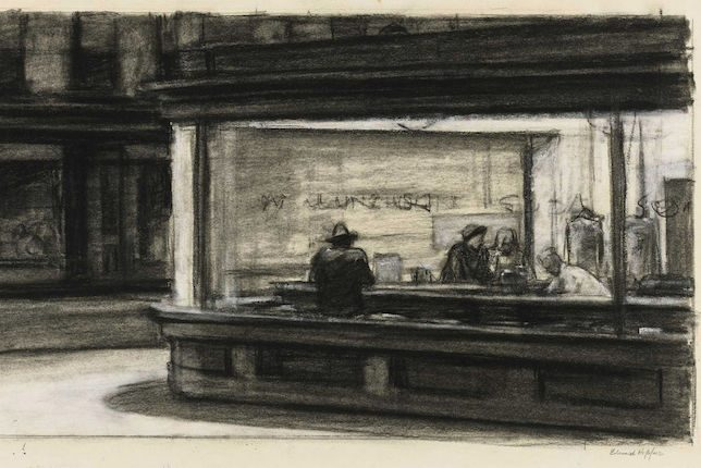 Edward Hopper's preliminary sketch of Nighthawks