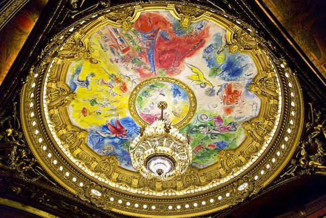 Chagall's frescoes, painted on the ceiling of the Opéra Garnier