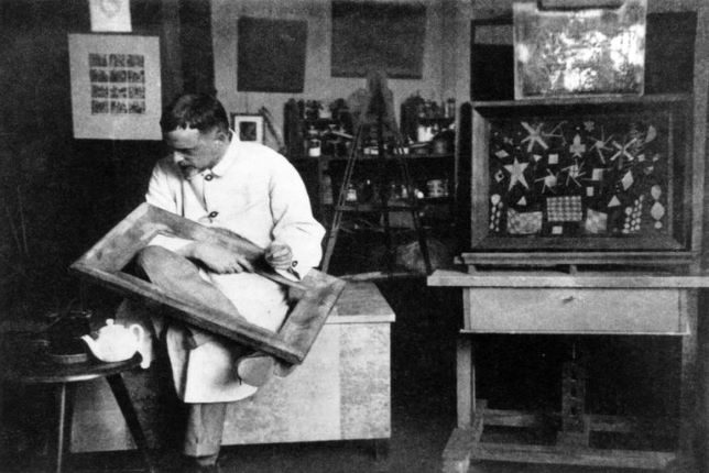 black and white photograph of Paul Klee in his studio