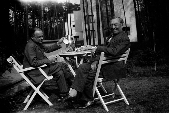 black and white photograph of Paul Klee and Wassily Kandinsky (1866 - 1944)