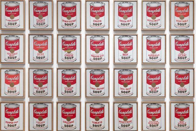 Image décorative: 25 Œuvres Contemporaines à connaître absolument:Andy Warhol, Campbell's Soup Cans, 1962