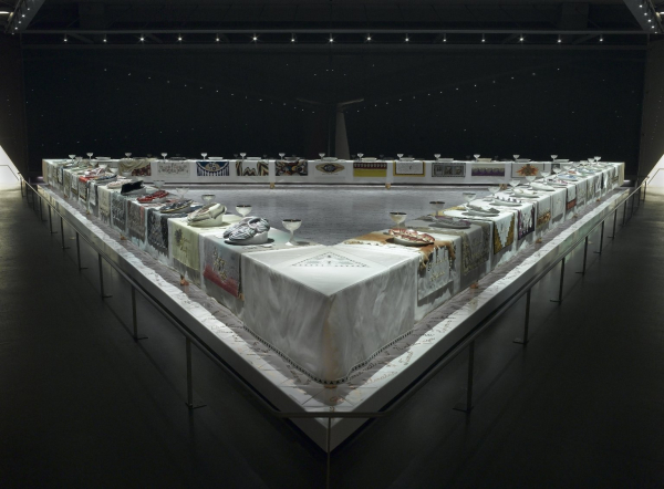 Photograph of The Dinner Party by Judy Chicago at the Brooklyn Museum, New York