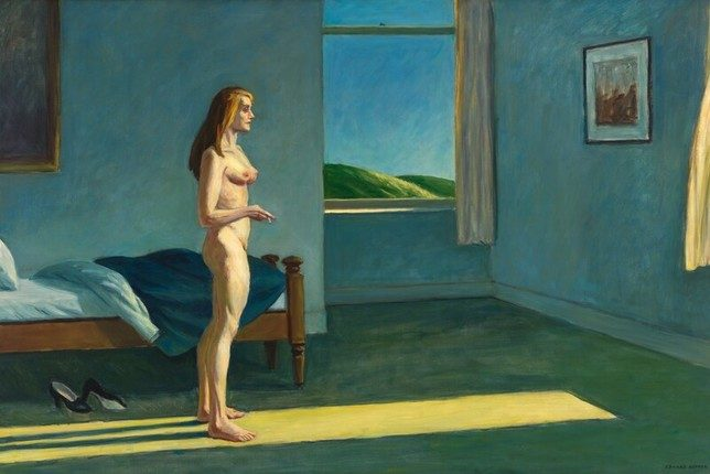 Photographie de l'oeuvre 'A Woman in the Sun' d'Edward Hopper, exposé au Whitney Museum of the American Arts, art contemporain, New York