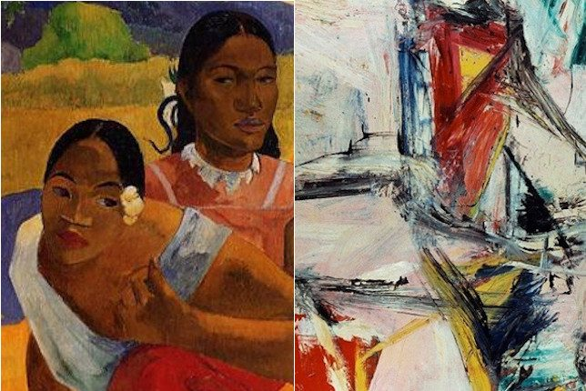 Gauguin painted taihiti women discussing / De Kooning painting is an abstract oil