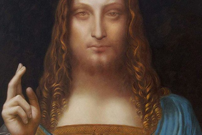 Leonardo de Vinci painted the christ with a hand up and in a blue coat