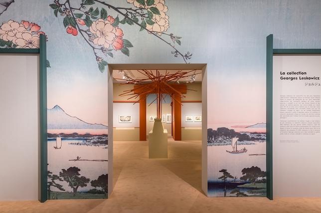 Exhibition view, Hokusai, Hiroshige, Utamaro