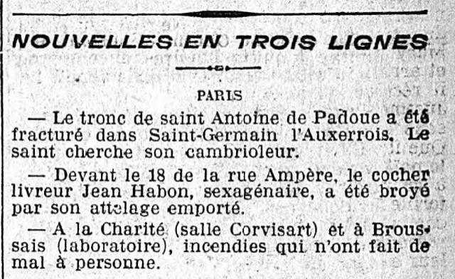"Félix Fénéon, The ""three-line news"" published in Le Matin on Dec.02, 1906"