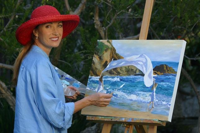 Jane Seymour peignant Peace dans son atelier à Malibu.