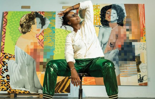 Mickalene Thomas posing with two of her artworks © Dana Scruggs