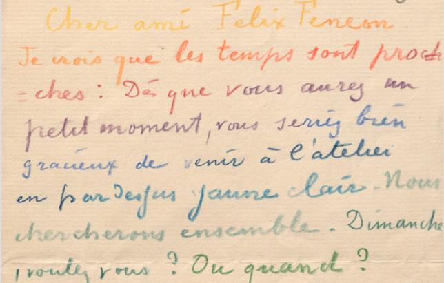 Paul Signac, lettre à Félix Fénéon, 21 septembre 1890 (détail) © INHA