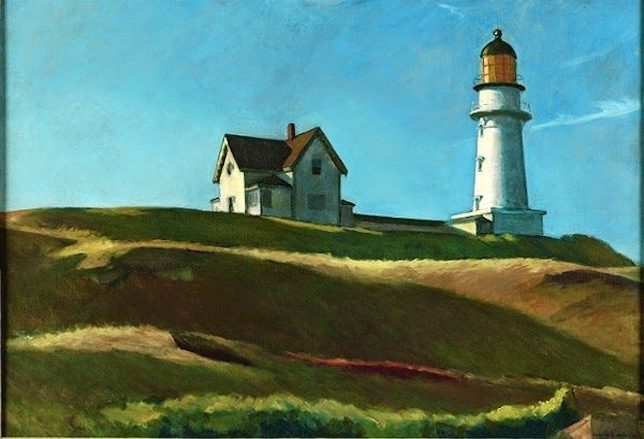 Peinture de paysage célèbre - Edward Hopper, Colline avec phare, 1927