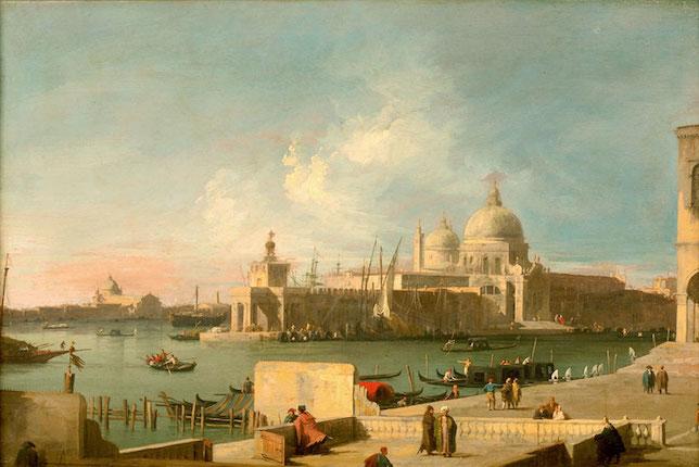 Peintures paysages célèbres Giovanni Antonio Canal, dit Canaletto, Le grand canal à l'église de la Salute (1727)