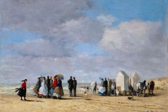 Peinture de paysage célèbre - Eugène Boudin, La plage de Trouville, 1865
