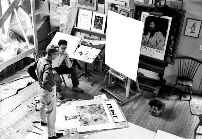 Louie Lamone, Norman Rockwell and Peter Rockwell working on The Connoisseur in Norman Rockwell's Studio, 1961