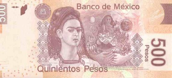Frida Kahlo Portrait on 500 peso bill