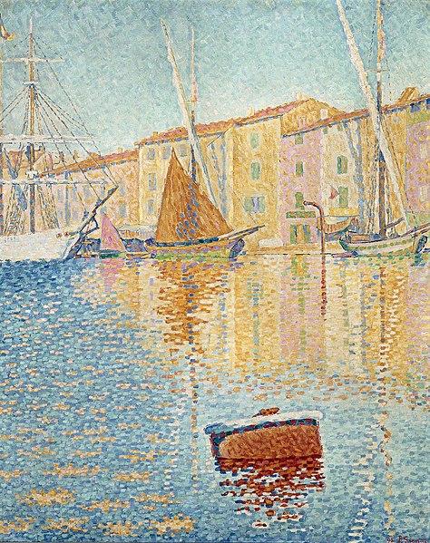 Peinture de bord de mer Paul Signac, La bouée rouge
