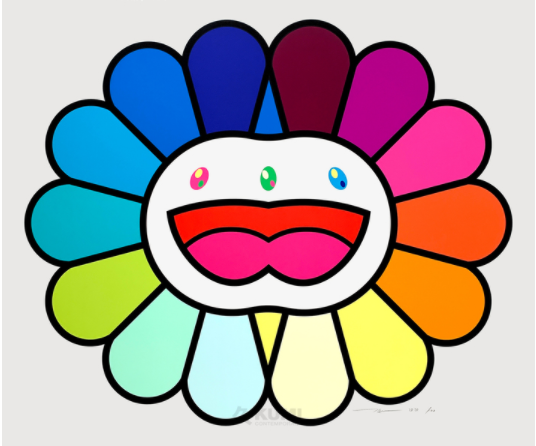 Takashi Murakami, Multicolor Double Face White, 2020