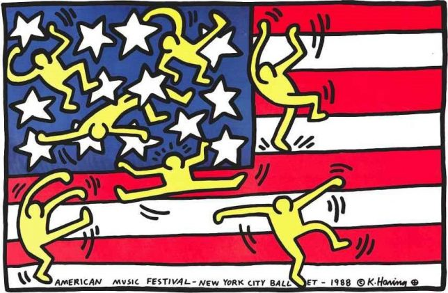American flag de Keith Haring