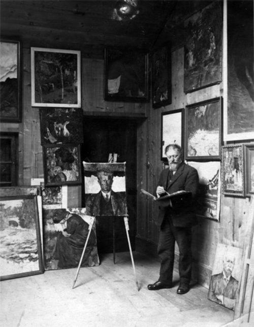 Photograph of Giovanni Giacometti in his studio, 1925