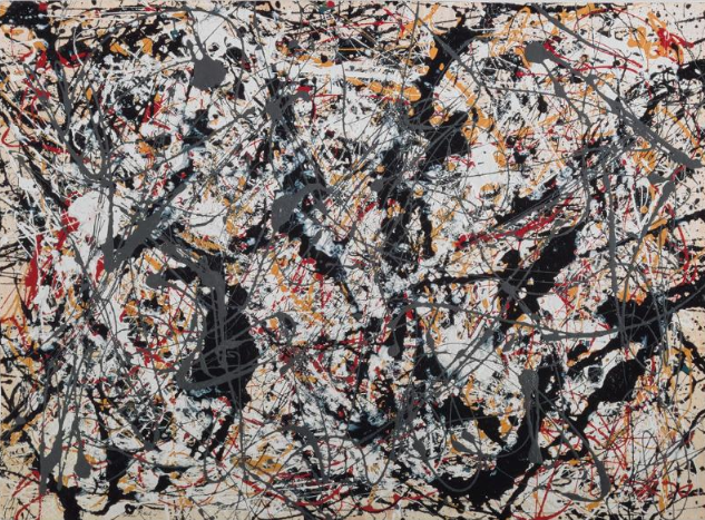 Jackson Pollock, Painting (Silver on black, white, yellow and red), 1948